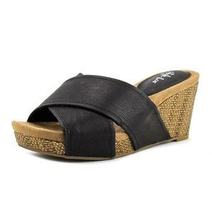 Style & Co. Jilleep Black Cork Wedge Sandals